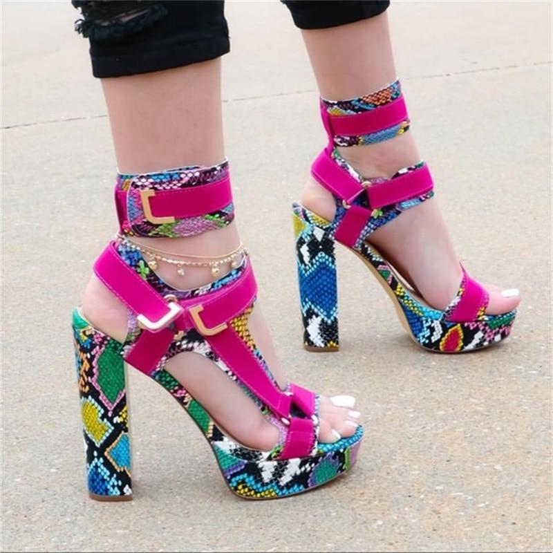 Women's Chunky Heel Sandals 2020 Fashion High Heel Snakeskin Platform Buckle Ladies Shoes Patchwork Peep Toe Female Pumps
