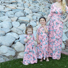 Autumn 2019 Mother daughter dresses Floral Long Dress and clothes Mom me dress Family Matching Clothes C0519