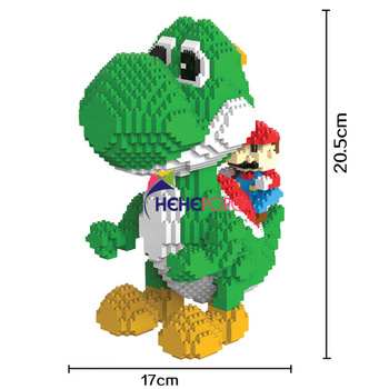 2000pcs 9020 Yoshi Mini Blocks Big Model Size Mario Blocks Anime DIY Micro Building Block Toys Auction Model Toy Kids Gifts