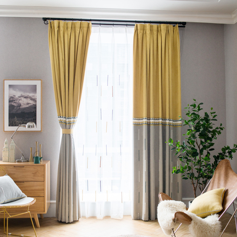 Solid Nordic Modern Patchwork Shading Curtains For Living Dining Room Bedroom.