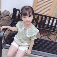 Fashion Baby Girls Clothes Summer Plaid Short Sleeve Casual Tops T shirt Shorts Kids Loose Cool Lapel Plaid Clothing Sets Khaki