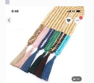 Image 5 - Hige Quality Wooden Beads Mala Necklace 108 Mala Necklace Rosequartz Mala Beads Hand Knotted Tassel Necklace Meditation Prayer J