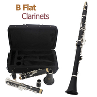 17 Keys bB Flat Black Professional Clarinet Bakelite Body Nickel Silver Plated Keys with Tube Cloth Screwdriver and Storage Box