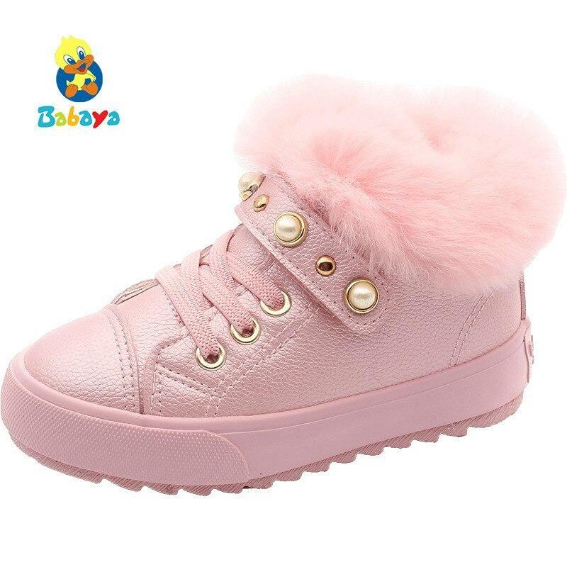 Girls Shoes Cotton Shoes Children Cotton Boots Snow Short Boots Baby Shoes 2018 Winter New Fur Shoes