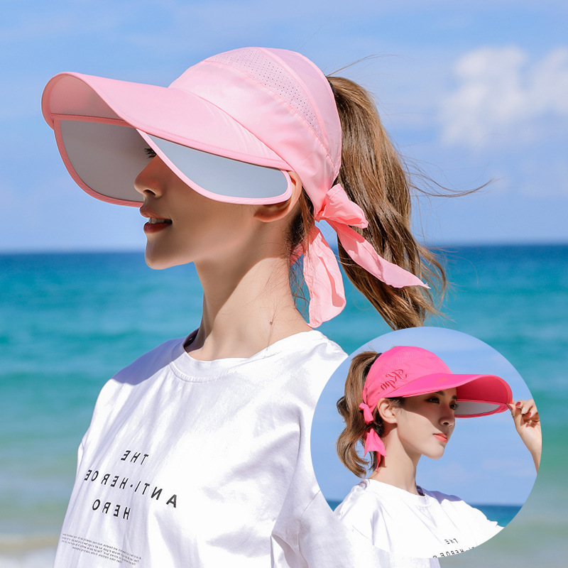 Summer Sun Hats Visor Caps Female Scalable Brim Empty Top Baseball Cap UV Protection Beach Sun Visor Hats For Women