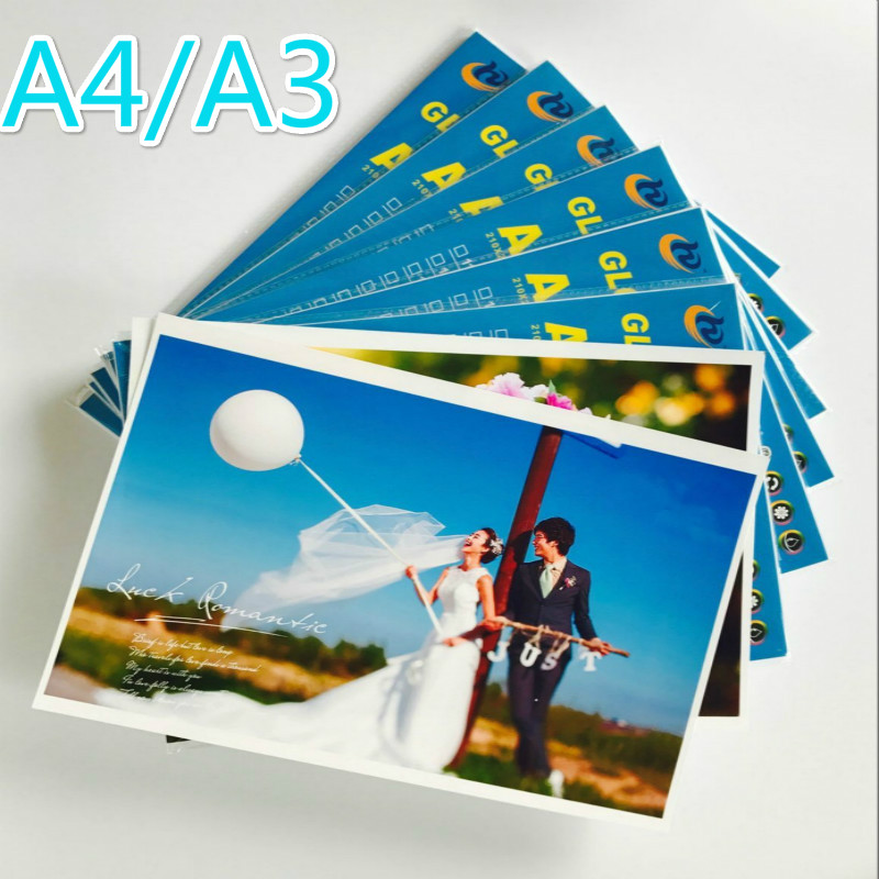 100 Sheets/package A4A3 High Quality 200g230g260g High Gloss Inkjet Waterproof Color Photo Paper Laser Print Photo Paper