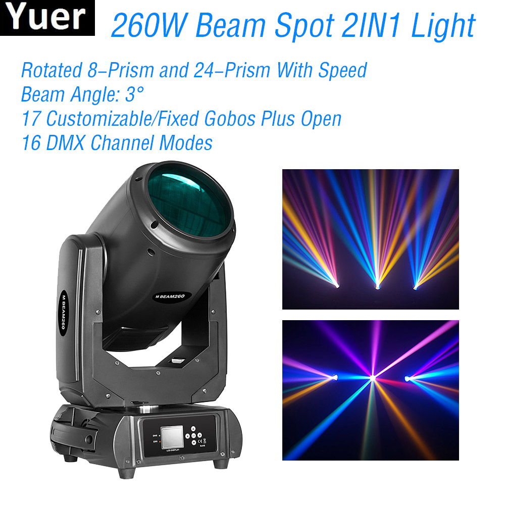 New Lyre Beam Spot 2IN1 Moving Head Light 260W 9R Stage Lighting DMX512 Beam 9R DJ Disco Light Party Color Music Club Bar Lights
