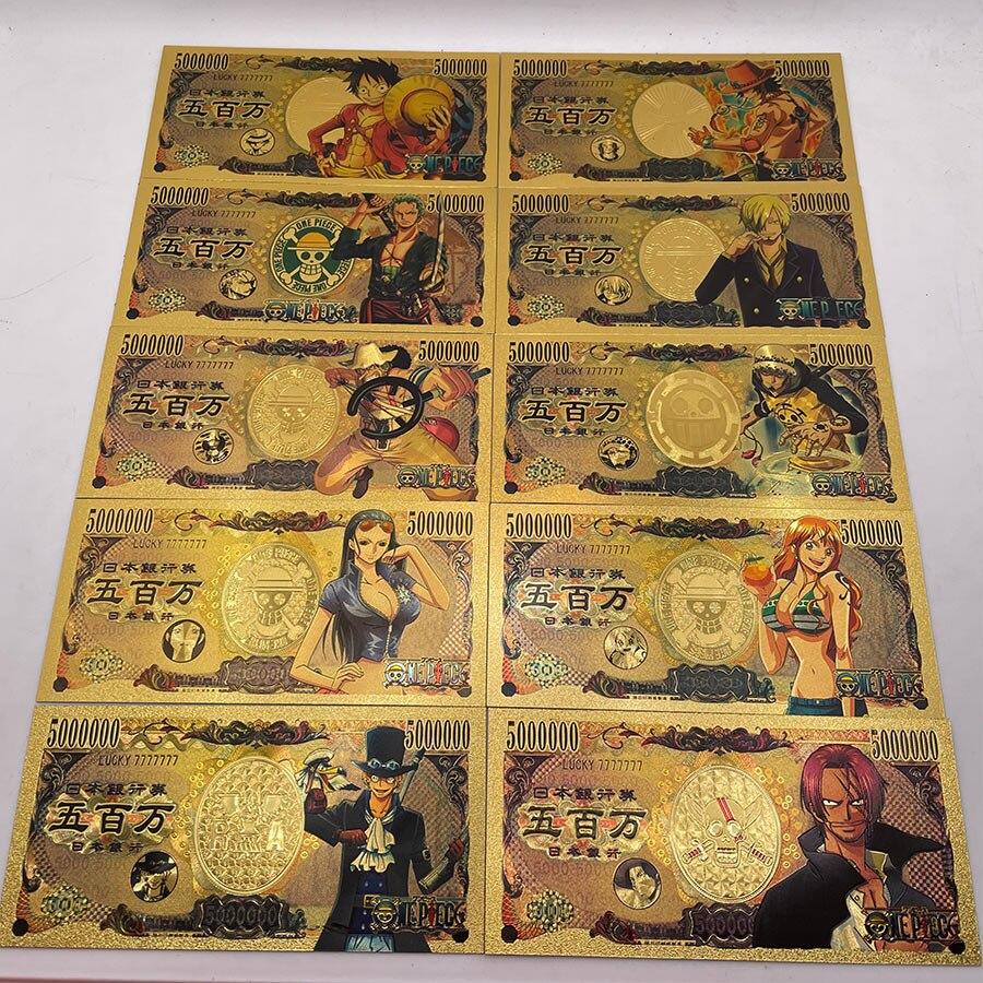 Больше типов японского аниме One Piece Monkey D. Луффи с изображениями героев мультфильмов, модная одежда Нико · нами и Робин Золото Банкноты LUCKY7777777...