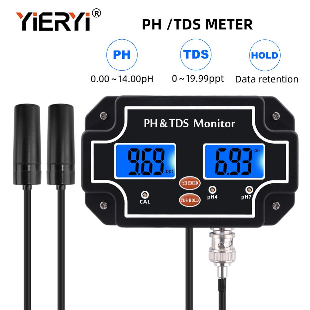 Yieryi 2 In 1 PH/TDS-2683 Water Quality Tester PH/TDS Meter Waterproof Double Display Tester With Black Color