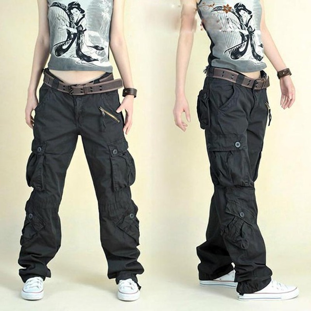 Free Shipping 2021 New Arrival Fashion Hip Hop Loose Pants Jeans Baggy Cargo Pants For Women 1