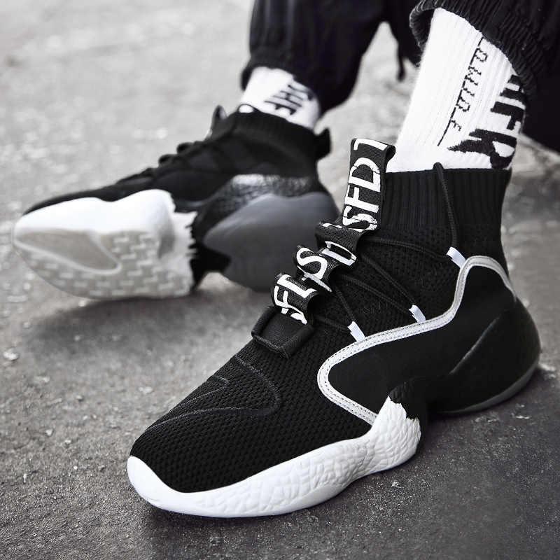 Обувь мужские кроссовки повседневные мужские Tenis Masculino дышащие высокие на шнуровке Мужская обувь кроссовки Chaussures Pour Homme