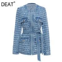 DEAT 2019 Autumn And Winter New Products Fashion Retro Mechanism Hole Craft Long Cowboy Windbreaker Jacket PB087