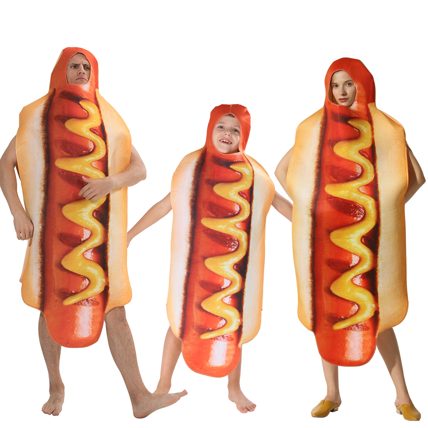 Adult Kids Funny 3D Print Food Sausage Hot Dog Costumes Halloween Men Women Family One-Piece Pizza Costume Carnival Food Costume