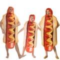 Взрослые Дети Забавный 3D принт еда колбаса хот-дог костюмы Хэллоуин Мужчины Женщины Мужчины семейный цельный костюм искусственная кожа Кар...