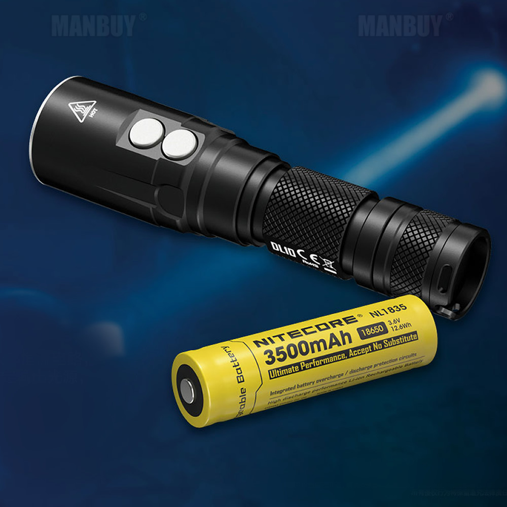 Discount Free Shipping NITECORE DL10 Diving Light 1000LM LED Flashlight 18650 Rechargeable Battery Underwater WaterProof Torches