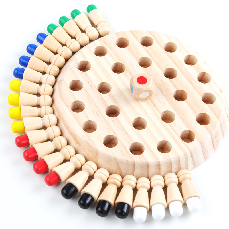 Children Color-match Chess Pieces Memory Hand Training Wooden Party Board Games Intelligence Development Toys For Kids Baby