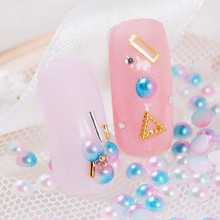 ABS Plastic Imitation Pearl Cabochons Nail Art Decoration Jewelry AB Color Plated Half Round Mixed Color массажер 2010 abs ab flex