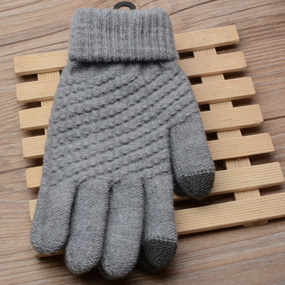 Knit Wool Man Touch Screen Winter Warm Mittens Solid Female Casual Gloves Fashion Ladies Touch-screen Gloves Guantes Lana Hombre