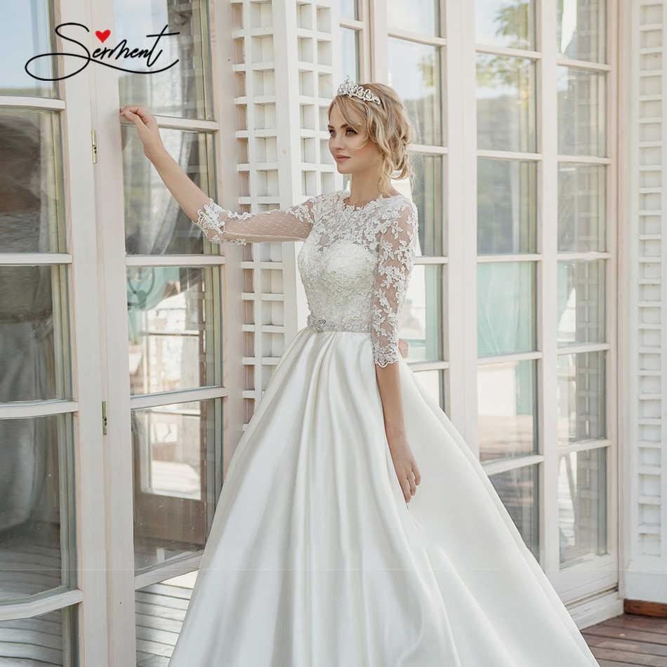 Ollymurs 2020 Luxe Trouwjurk Lange Mouwen Coltrui Applique Kant Wedding Noble Applique Moslim Brides Ondersteuning Maatwerk