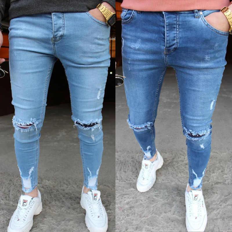 Fashion Men Skinny jeans Ripped Jeans Slim Fit Pant Casual pant Denim pant Rip