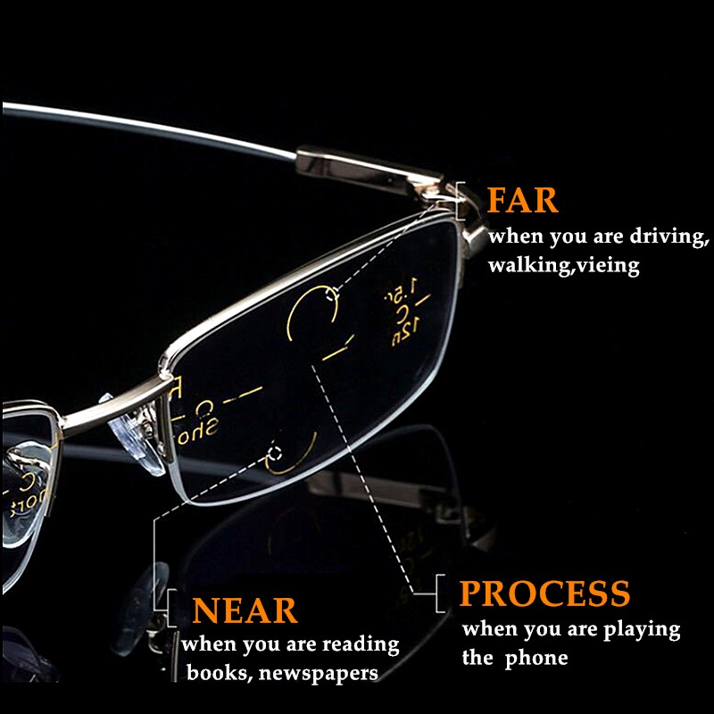 Metal Titanium Multifocal Reading Glasses Progressive Bifocal Anti Blue Ray UV Protect Presbyopic Glasses Half Frame Men Women