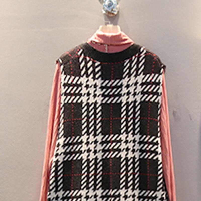 XITAO Plaid Straight Casual Knitted Dress Women Sleeveless 2019 Winter Korean New Style Elegant V Neck Collar Loose DMY1324 28