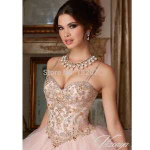 Image 3 - Blush Pink Cheap Quinceanera Dresses Ball Gown Spaghetti Straps Tulle Beaded Crystals Sweet 16 Dresses