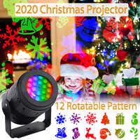 2020 Christmas LED Projector 12 Patterns Rotatable Laser Light Festival Holiday Party Decor Night Lamp Snow Projector Light Xmas