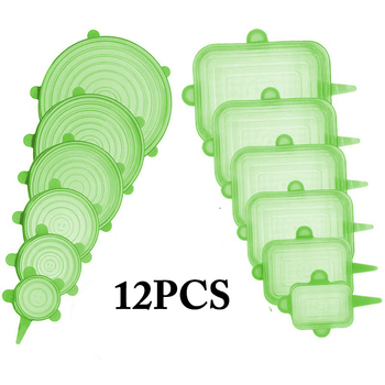 12pcs Reusable Silicone Food Cover Elastic Stretch Adjustable Bowl Lids Universal Kitchen Wrap Seal Fresh Keeping Silicone Caps - GREEN 12PCS