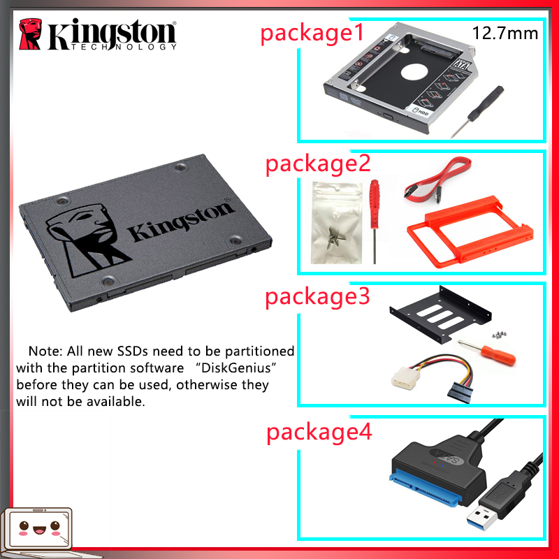 Original Kingston SSD жесткий диск 120 Gb SATS 3 HDD 2.5 Inch Disco Duro Ssd With Hdd Caddy/Optibay Or Adapter For PC Laptop