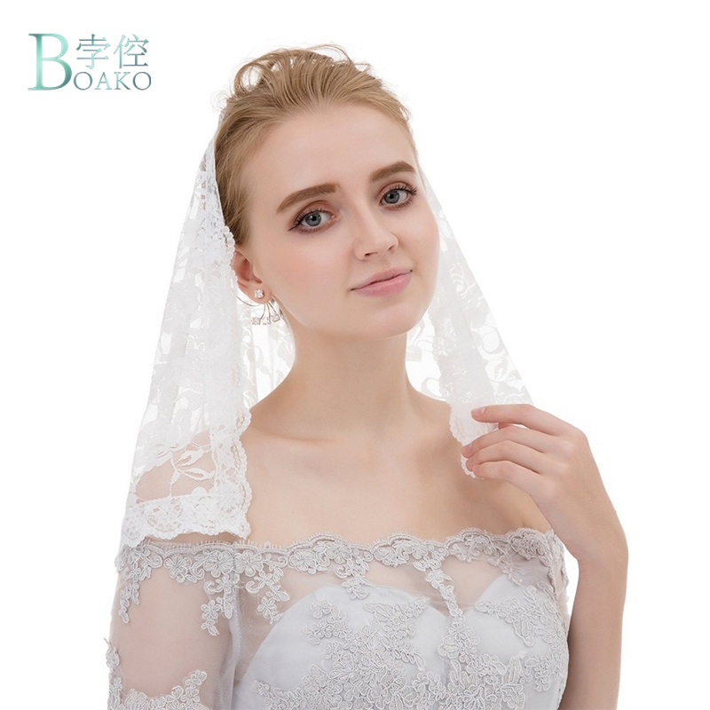 Short White Black Muslin Wedding Lace Veil Catholic Church Lace Veil Mantilla Blusher Veils B40