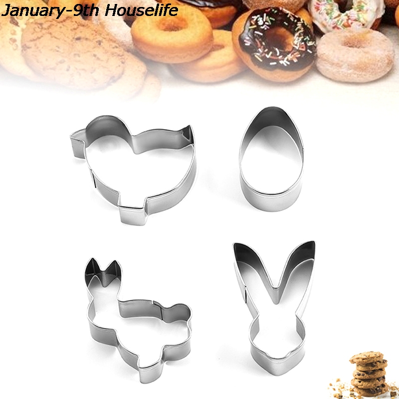 4pcs Stainless Steel Biscuit Mold Cutters Cookie 3D Bunny Rabbit Mould Cake Pendant Kitchen Baking Tools For Easter Decoration