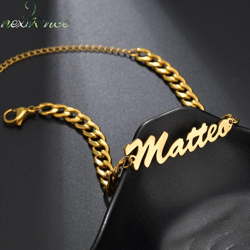 Nextvance-Bracelet de chaîne avec nom personnalisé, breloque, Bracelet épais en acier inoxydable créatif, bijoux cadeaux pour époux, pour hommes