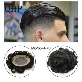 Human Remy Hair Toupee For Men Mono Lace& NPU Hairpiece Natural Looking Remy Hair Mens wig Replacements Toupee bymc mens toupee fine mono 100% indian remy hair french lace swiss lace front men toupee prosthesis hair pieces hair system
