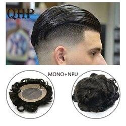 Tupé de cabello humano Remy para hombres, peluca Mono de encaje y NPU, aspecto Natural, cabello Remy, peluquín de reemplazo para hombres
