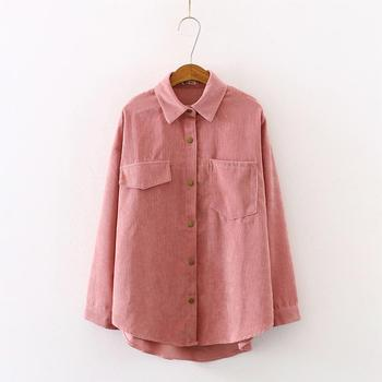 New Women Solid Corduroy Batwing Sleeve Vintage Blouse Turn-Down Collar Loose Top Button Up Pink Shirt Feminina Blusa T9D609T 3