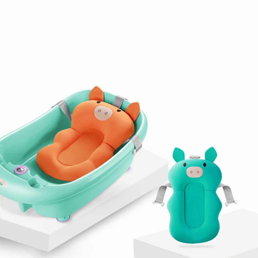 Fold antiderrapante bebes esteira da banheira dobrável assento de segurança recém-nascido suporte do bebê banho de chuveiro portátil almofada de ar cama infantil almofada de banho
