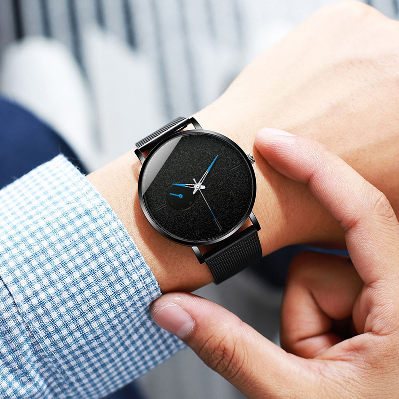 Hbe073e8f233449178d8c02b4441ccf83C DONROSIN Men Casual Slim Black Mesh Steel Wrist Sport Watch Fashion Mens Watches Top Brand Luxury Quartz Watch Relogio Masculino