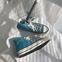 Vulcanize Shoes Low-Cut-Sneakers Retro Women Blue Casual Fall Canvas Carolina North New