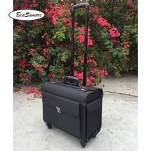 BeaSumore عالية الجودة أكسفورد الكابتن المتداول الأمتعة سبينر متعددة الوظائف 18 بوصة حقيبة لابتوب الرجال النساء الطيار حقيبة عجلات