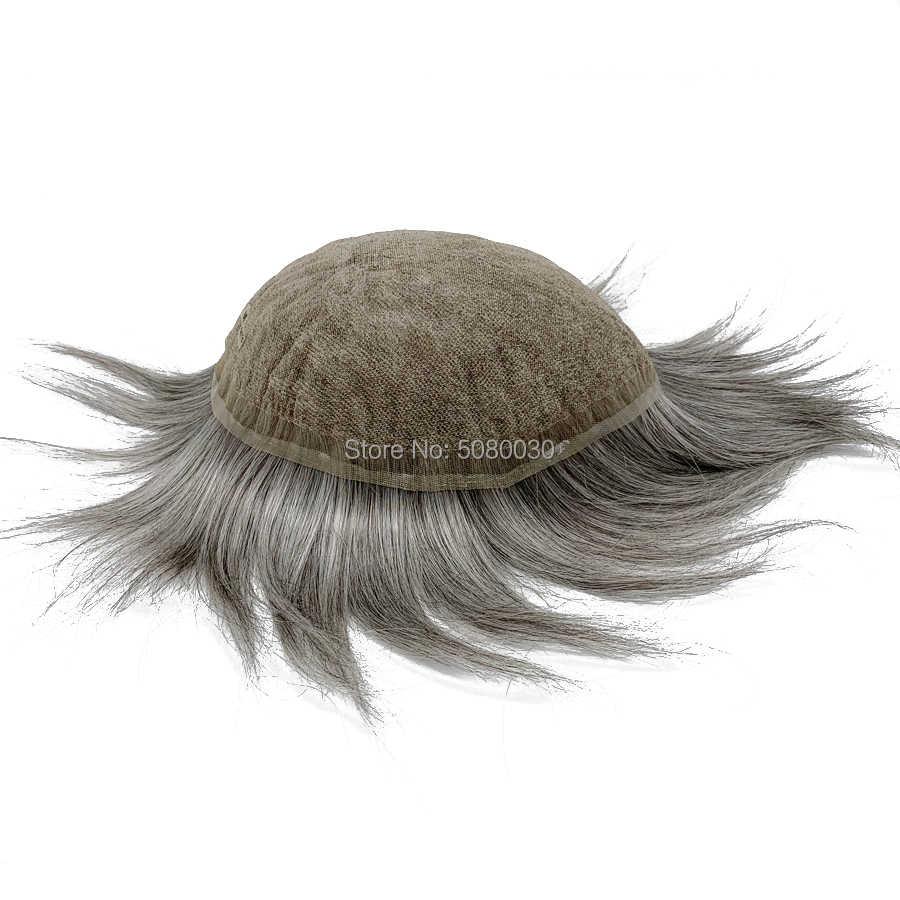 Görünmez dantel frontal erkek peruk doğal peruk peruk erkekler insan saçı tam swiss dantel taban