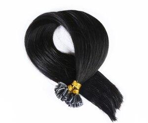 Прямые человеческие накладные волосы QHP, u-образные накладные волосы Remy, 0,8 г/шт., разные цвета
