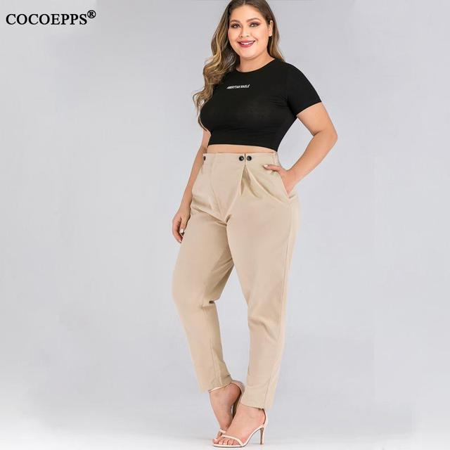 XL-4XL 2020 Spring Plus size Women Harem Pants Casual Summer Office Ladies Trousers Large Size Female High Wiast Khaki Work Pant 18