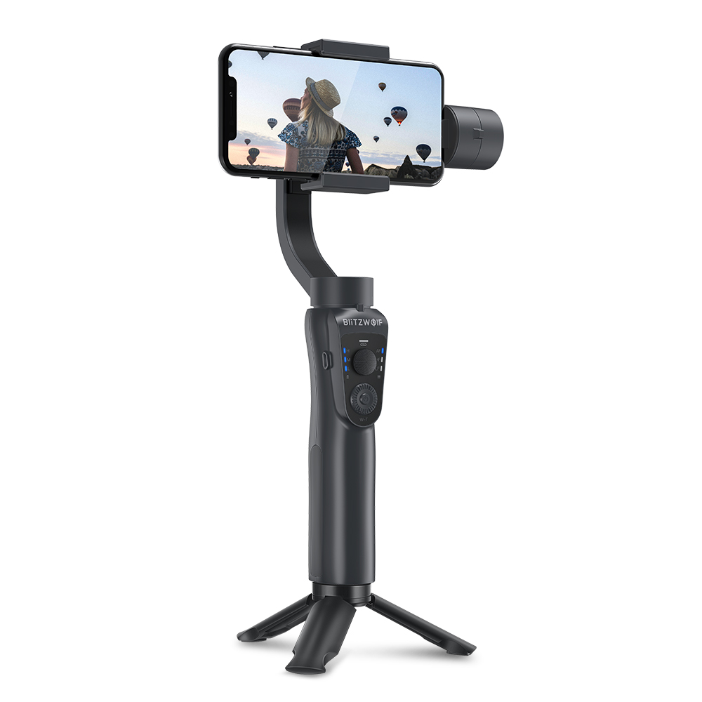 BlitzWolf 3 Axis bluetooth Handheld Gimbal Stabilizer for iPhone Youtube Vlog for Xiaomi for Huawei Smart Cell phone Smooth (Black)