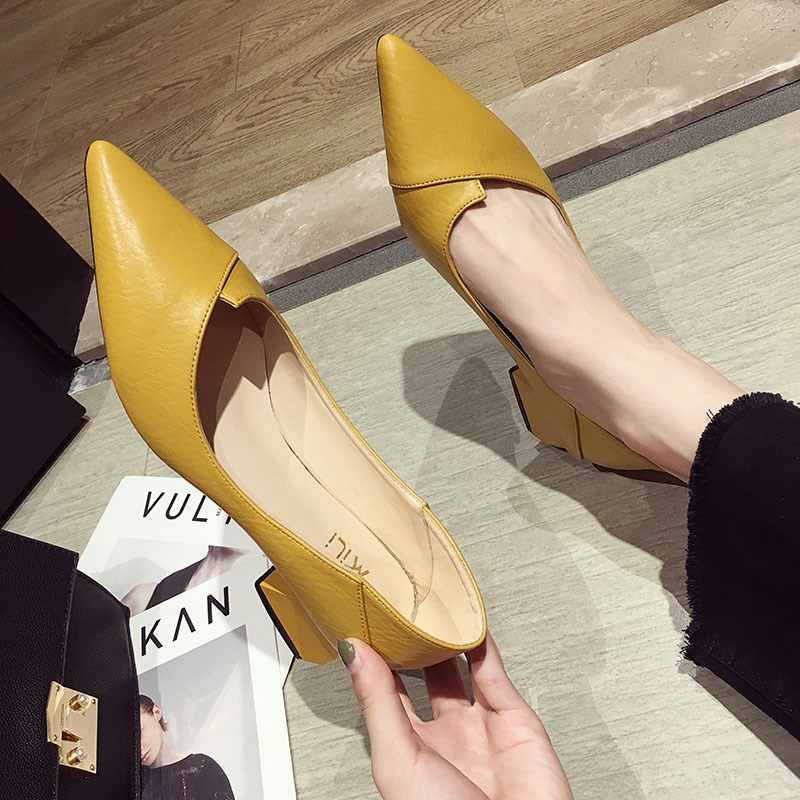 EOEODOIT 2020 Spring Leather Pumps Med Square Heel Pointed Toe Shoes Slip On Daily Casual Office Lady Work Pumps Shoes