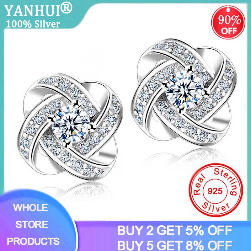 YANHUI moda 925 srebro kwiat mały cyrkon diament stadniny kolczyki srebrne 925 kolczyki dla kobiet prezent na boże narodzenie ED105