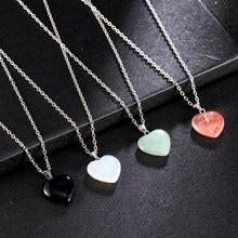 Kształt serca kamień kamień naturalny kwarc uzdrawiający punkt wisior czakry naszyjnik kobiety biżuteria