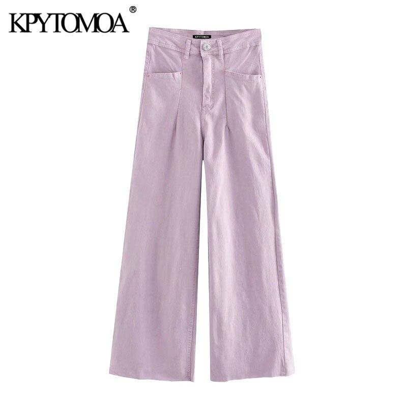 KPYTOMOA Women 2020 Chic Fashion High Waist Straight Jeans Vintage Zipper Fly Pockets Frayed Hem Female Denim Pants Mujer