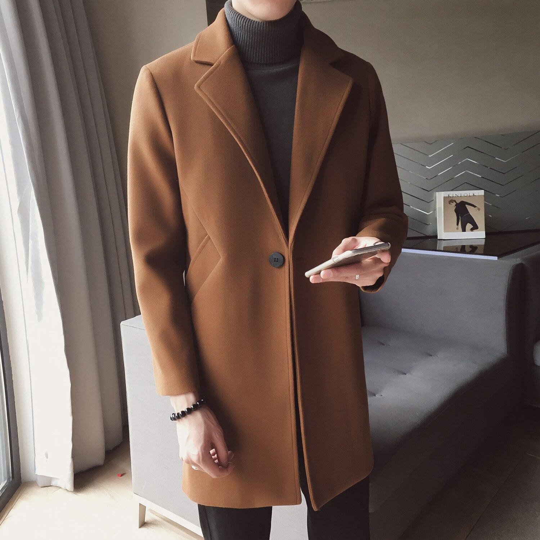 Зимнее длинное шерстяное пальто мужское коричневое теплое Мужское пальто корейский облегающий крой Длинная Куртка мужская трендовая коричневая Черная Куртка мужская Casaco Masculino