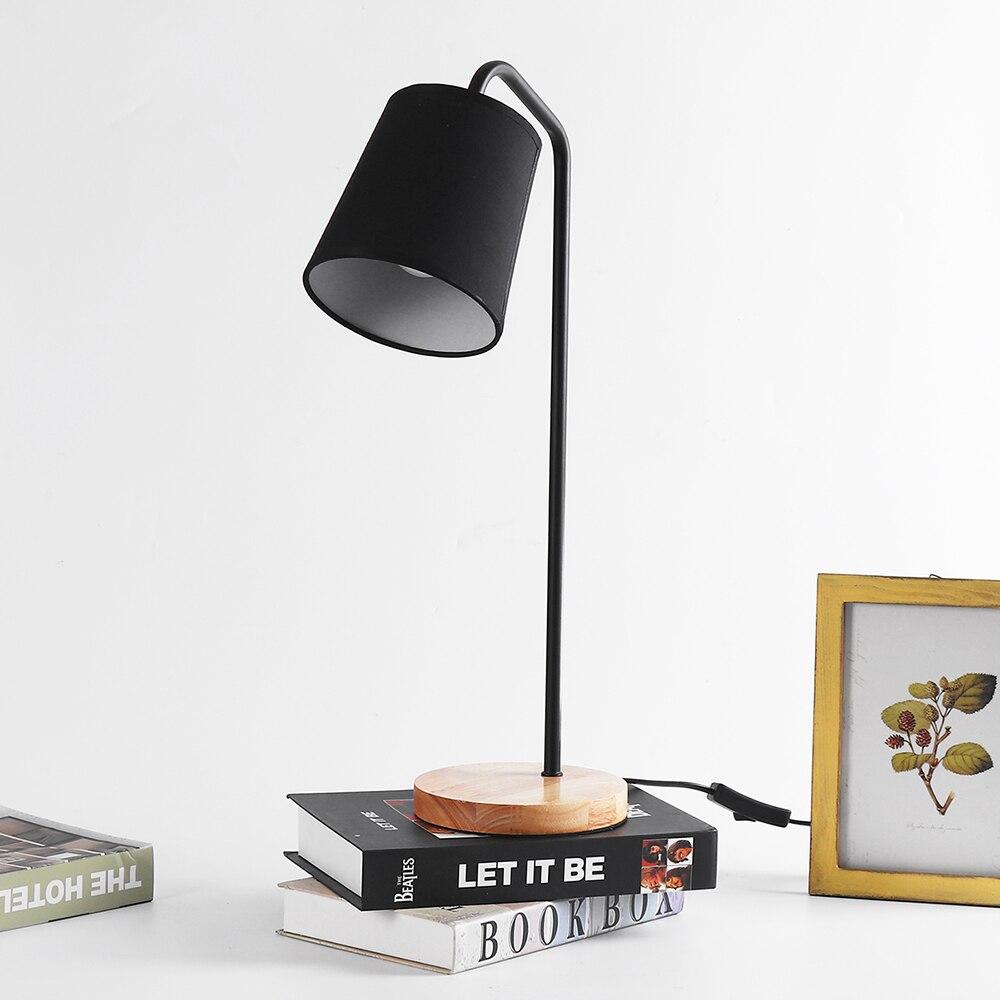 CLAITE Nordic Minimalist Creative Table Lamp USB LED Desk Lamp Bedroom Dormitory Modern Solid Wood Reading Light Desk Lamp